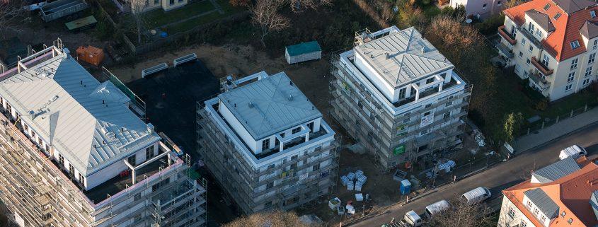 Wohnsiedlung Flachdächer von oben