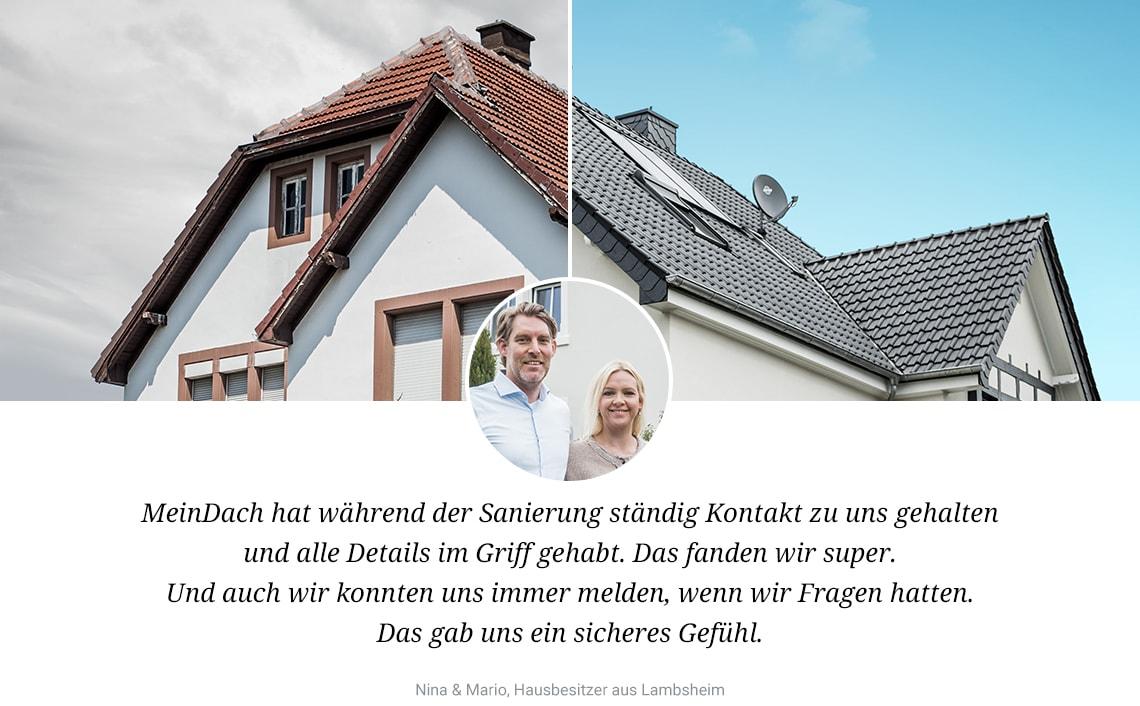 Bild Vorher/Nachher mit Meinung von zufriedenen MeinDach Kunden